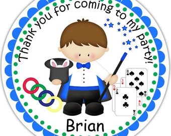 Magic Magician - Personalized Stickers, Party Favor Tags, Thank You Tags, Gift Tags, Address labels, Birthday, Baby Shower