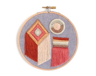 "Sunshapes - Original Hand Embroidery - 5"" Hoop"