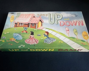 Vintage The Game of Up and Down Board Game - Whitman Publishing - 1959 -family fun, early Chutes & Ladders, young children, early board game