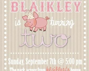 Piggy Birthday Party Invitation 5x7