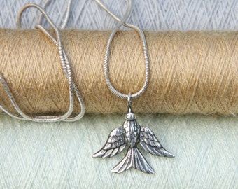 Swallow Sterling Silver Necklace, Bird necklace