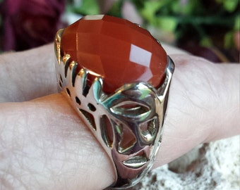 Sterling silver faceted large carnelian ring, size 8