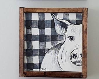 "Portly Pig farmhouse sign, 10.5"" x 10.5"", framed sign, hand painted, handmade,"