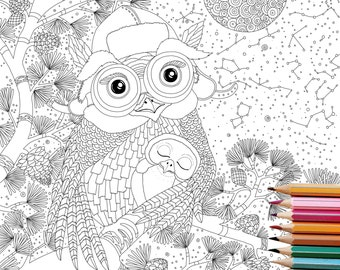Coloring Pages OWL Digital Downloadanimal Book PRINTABLEinstant Downloadgift For Heradult Pagesenchanted Forest