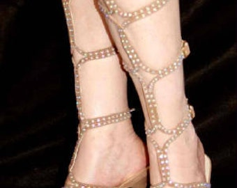 Gladiator Shoes Rhinestone Stone Color Tan Dancing
