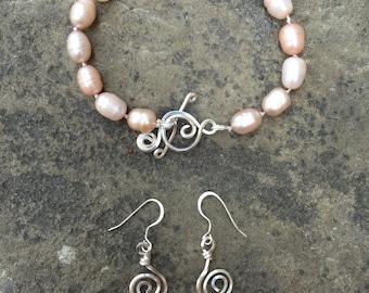 Champagne Freshwater Pearl Bracelet and Earrings