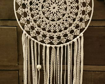beige dream catcher, pearls and lace