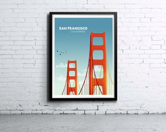 San Francisco Golden Gate Day Illustration Print, Poster, Art, Wall Art, Typography