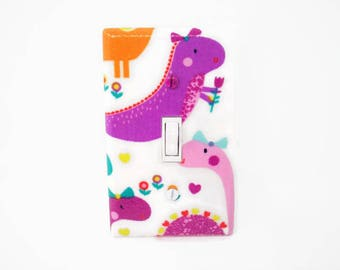 Dinosaur Light Switch Cover - Dinosaur Switch Plate - Pink Dinosaur Bedroom - Girls Nursery Decor