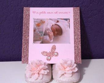 """Butterfly birth announcement """"little sister has arrived"""""""