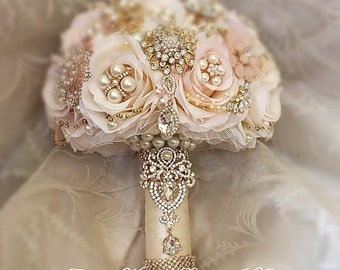 CUSTOM BROOCH BOUQUET, Rose Gold Brooch Bouquet, Deposit Only for this custom pink and Ivory Gold and Rose Gold Brooch Bouquet, Rose Gold