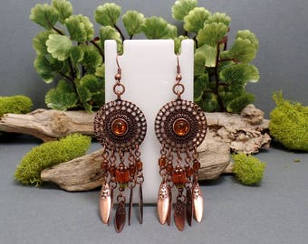 Bohemian Copper Earrings - Long Copper Earrings - Boho Copper Earrings - Copper Mandala Earrings - Copper Dreamcatcher