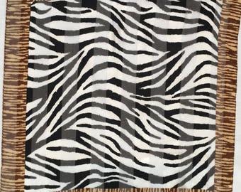 Vintage Women's Zebra Stripe Sheer Scarf/Black/Ivory/Brown/Stripes/Silky Scarf /Vintage Square Scarf/Retro Square Scarf