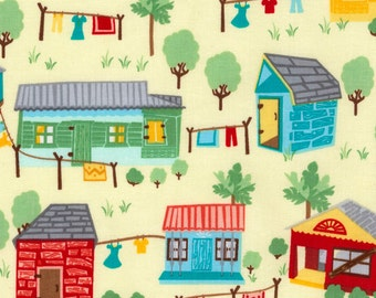 Dominicana by Vanessa Vargas Wilson for Timeless Treasures - Scenic Houses (VANESSA-C5170 Butter) - 1 Yard