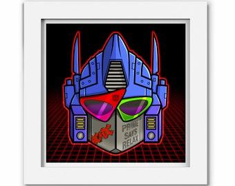 Transformers Optimus Prime 80s Print, Transformer Cartoon, Comic, Illustration, Transformer Geek Art Gift 1980s