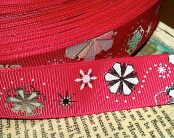 """7/8"""" Hot Pink White and Metallic SILVER Snowflake Christmas Grosgrain Ribbon sold by the yard"""