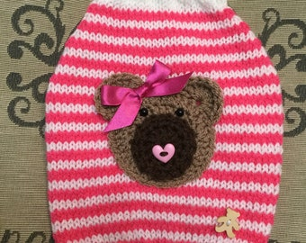 Small hand knit dog puppy sweater jumper coat (raglan sleeved)