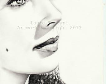 Stampa d'arte firmata - Ritratto di Elisabeth Taylor - Disegno grafite