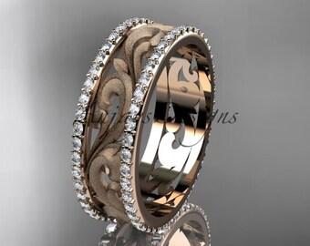 14kt rose gold diamond engagement ring, wedding band ADLR414BD