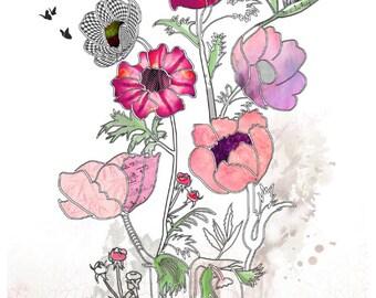 8x10 Giclee print, Flowers painting, Flowers print, Watercolor flower, Hot pink flowers