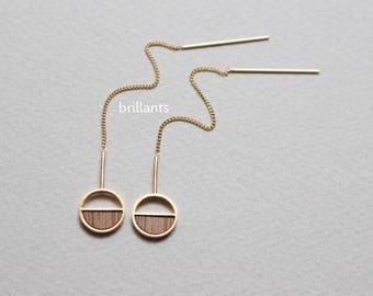 Wood Circle Threader earrings, Gold, Rose gold, Silver, Geometric, Bridesmaid gift, Everyday earrings, Minimal, Simple, Long earrings