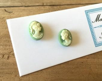 Green Cameo Stud Earrings