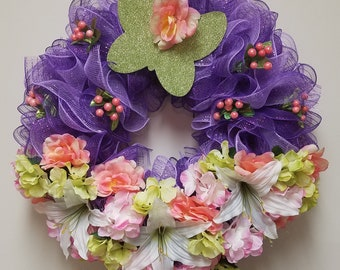 Spring Butterfly in Garden Wreath