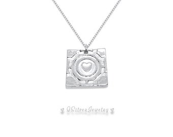 Sterling Silver Companion Cube Necklace - Birthday Christmas Anniversary Gift for Wife Girlfriend Best Friend