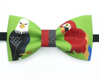 Handmade Eagle and Parrot Bowtie Bow tie