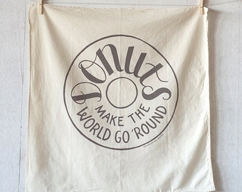 Donuts Make the World Go Round floursack towel