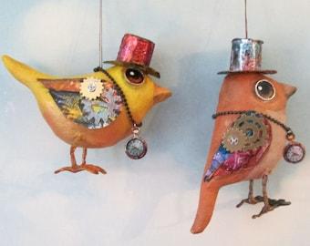 "SE488E -  Steampunk Wrens  - 4""  Bird Ornament Art Pattern - PDF Download by Susan Barmore"