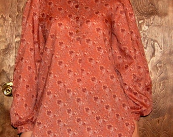 SALE L Vintage 70s Long-Sleeved Brown Shirt