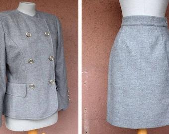1980's Carole Fersten Suit - 80's Luxury Blazer and Skirt Set - Size S/M #1386