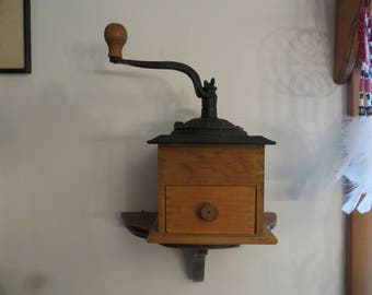 Coffee Grinder Mill Wood Dovetailed Box w/ Cast Iron Top