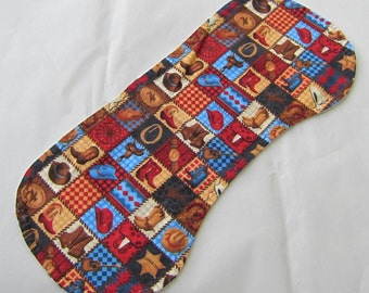 HORSES Western Theme Squares Design Cotton Flannel Fabric Baby Burp Cloth Drool Cloth