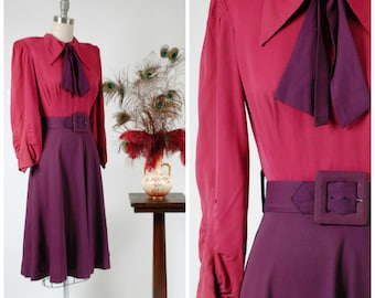 Vintage 1940s Dress -Fantastic Rayon Gabardine Color Block 40s Day Dress in Fuchsia with Purple Skirt, Necktie and Wide Belt