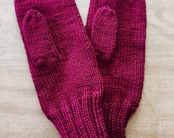 Knit Mittens, Burgundy Adult Mittens, Mittens for Adults, Red Mittens Size Small, Knit Winter Mittens, Knitted Warm Mittens, Christmas Gift