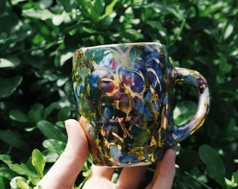 Vintage Ceramic Coffee Mug Hand painted Gold Indigo Blue