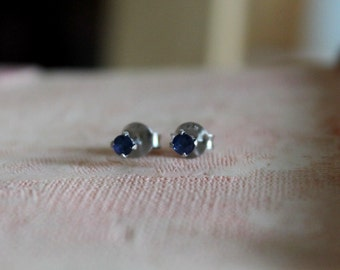 2.50mm Blue Sapphire Gemstone Tiny Silver Studs 92.5 Prong Setting