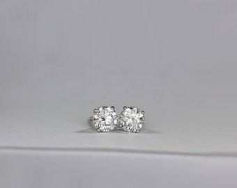 3.10 tcw CE Diamond Stud Earrings in 4 prong Martini Setting in 14k White Gold