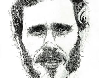 James Vincent McMorrow portrait in pen illustration print - Irish singer / songwriter