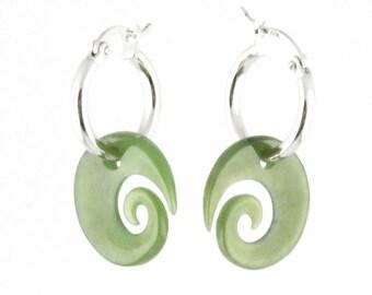 Canadian Nephrite Jade Earrings, 1782