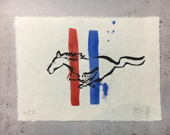 Mustang - original linocut print with watercolor