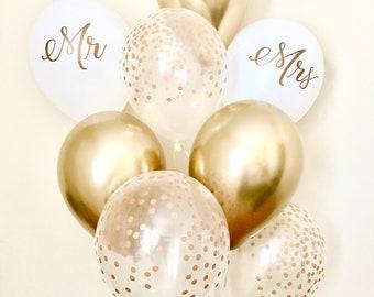 Wedding balloon etsy new chrome gold mr mrs and confetti balloonswedding balloonbridal shower balloons junglespirit Images