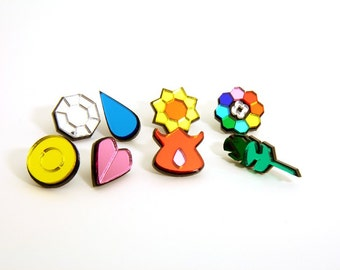 Kanto Pokemon Gym Badges with Pins