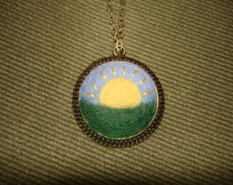 Needle Felted Sunshine Pendant Necklace