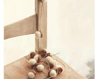 HEMP TWINE GARLAND  with 12 Snow White Wool Felted Acorns| boho, cottage chic, woodland, rustic