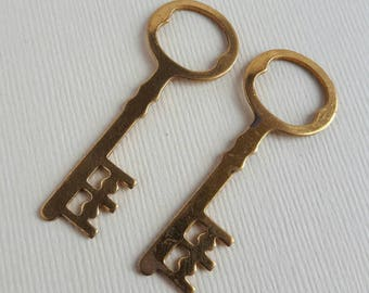 Vintage brass key large pendant charm