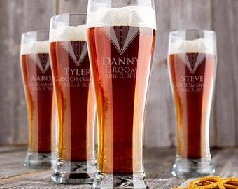 Groomsmen Beer Glass, Gift for Groomsmen, Personalized Engraved Beer Glasses for Wedding, Best Man Gift, Bachelor Party Favors, 11 Designs