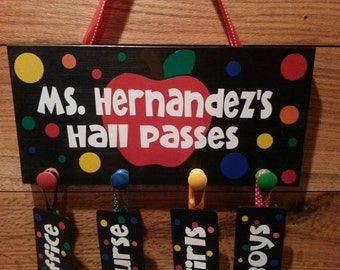 Teacher Hall Pass sign with tags